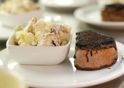 Filet and potato salad