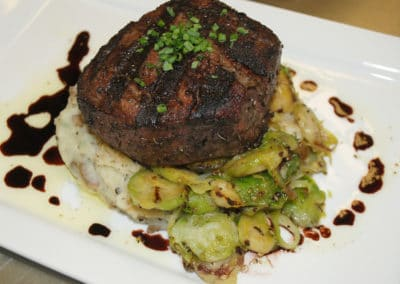 Filet Mignon with brussel sprouts and garlic mashed potatoes